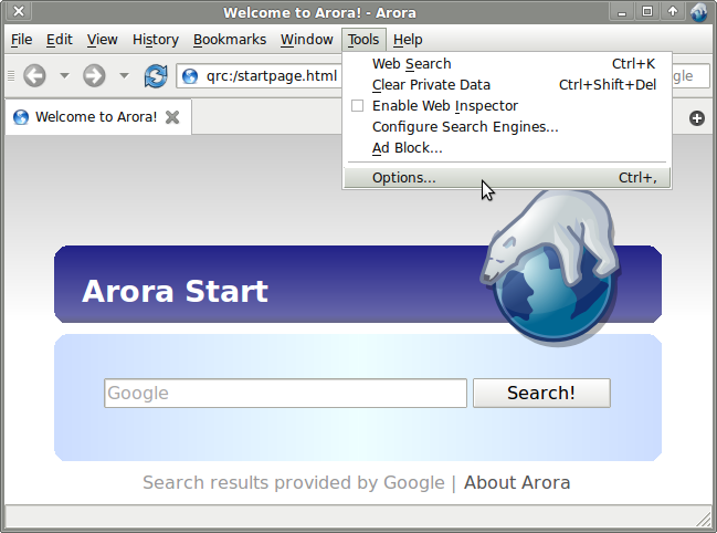 Techieapps-Arora-Browser-For-Linux