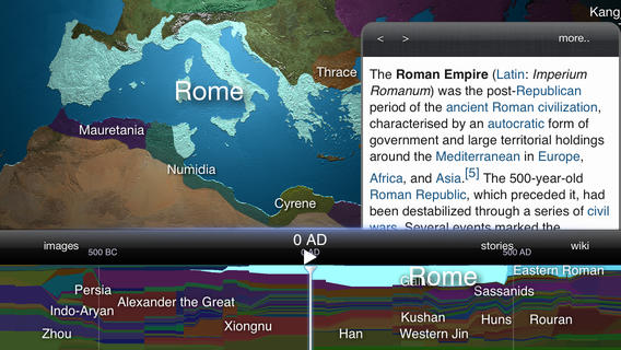 the 3d world atlas provides the user with information and images of history as he explores the world through the times the app is available on ipad and
