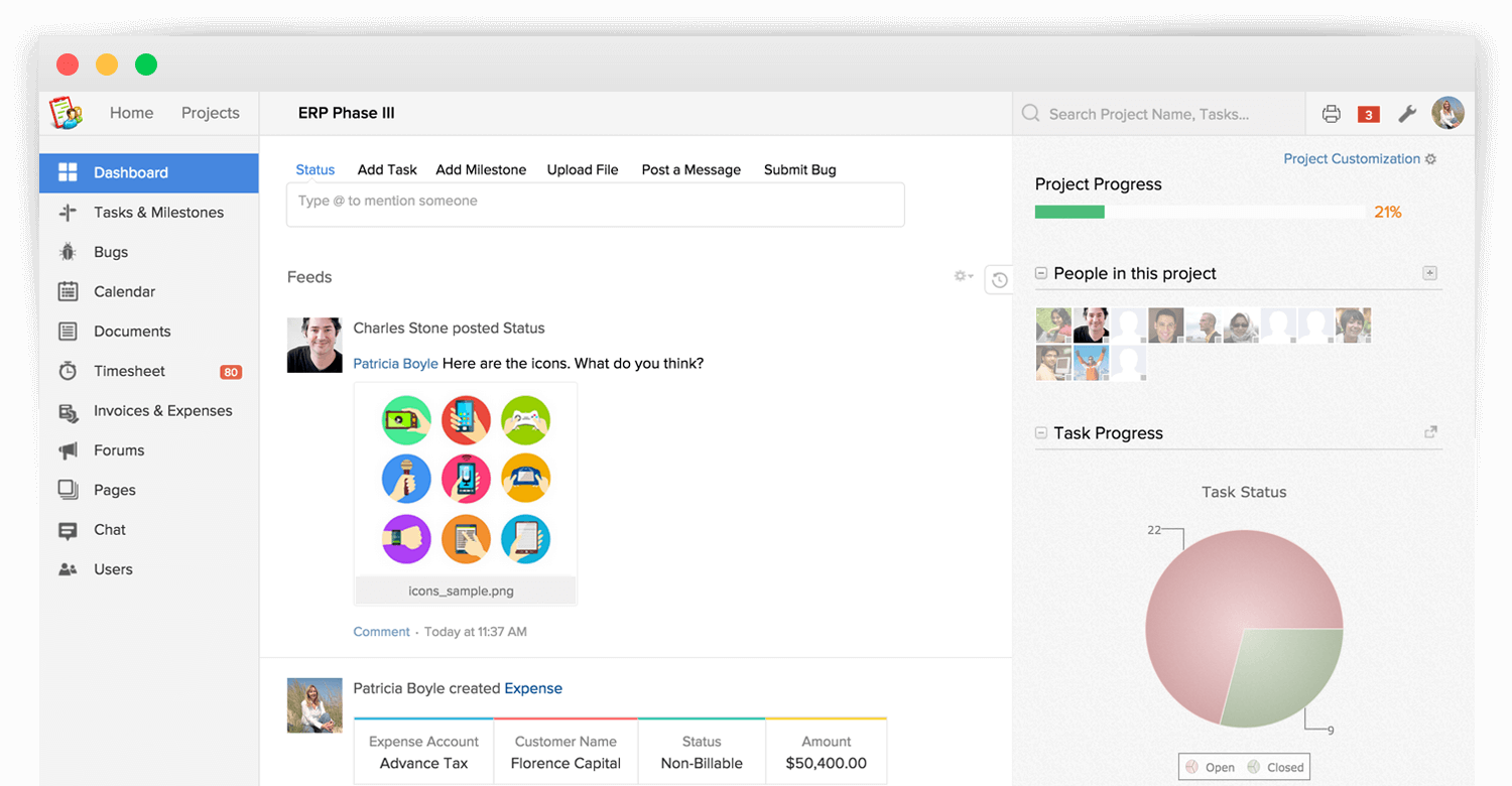 Zoho Projects - Web-based Tasks Manager