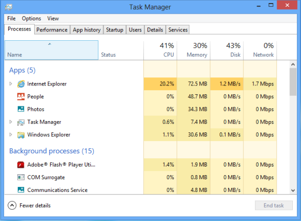 task manager for application in windows8