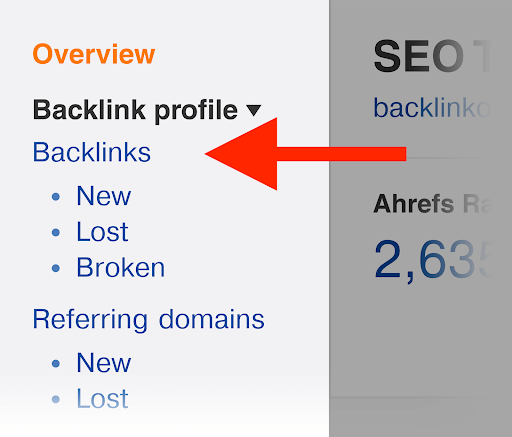2. After that, go to the backlinks report.