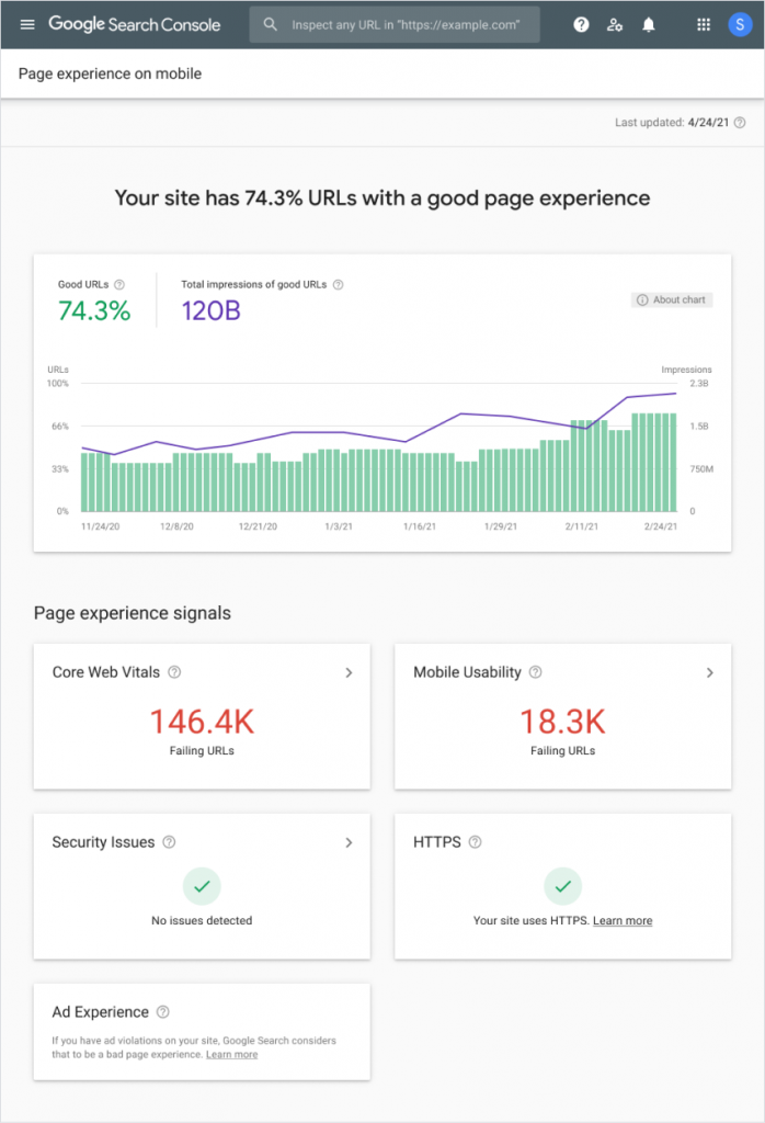 New Page Experience Report in Google Search Console