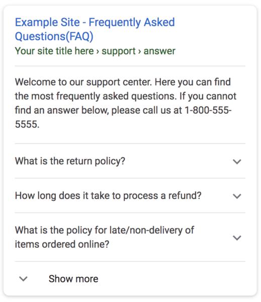 FAQ Featured Snippet