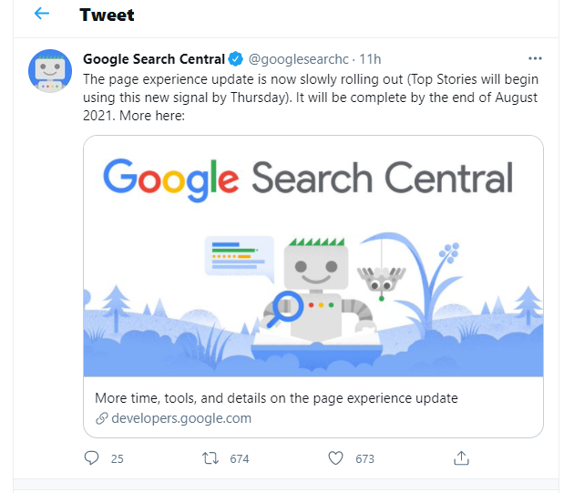 Google Search Console Tweet