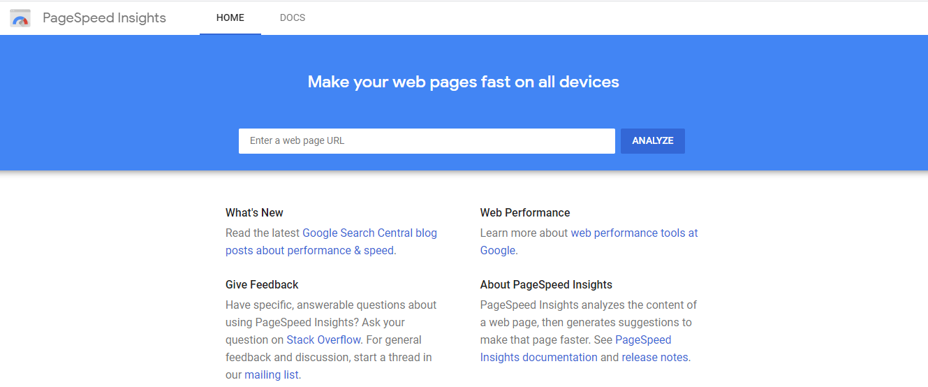 Google PageSpeed Insight Tool