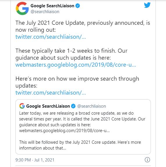 Google Core Update July Tweet